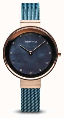 Bering Womens | Classic | Blue PVD Plated Steel Mesh 10128-368