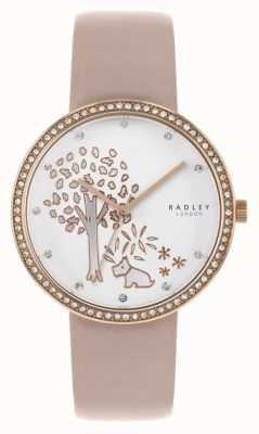 Radley | Womens Nude Leather | White Tree Dial | Crystal Set Bezel RY2836