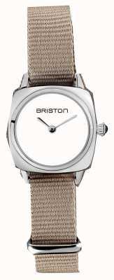 Briston | Clubmaster Lady | Single Taupe Nato Strap | White Dial | 19924.S.M.2.NT - SINGLESTRAP