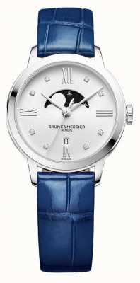 Baume & Mercier | Womens Classima | Blue Leather | Silver Moonphase Dial | M0A10329