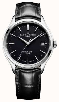 Baume & Mercier | Mens Clifton | Baumatic | Black Leather | Black Dial | M0A10399