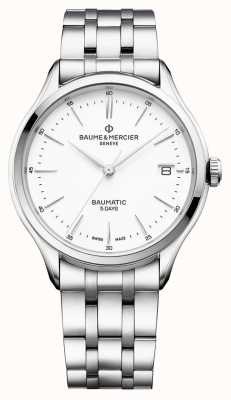 Baume & Mercier | Mens Clifton | Baumatic | Stainless Steel | White Dial | M0A10400