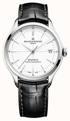 Baume & Mercier | Mens Clifton | Baumatic | Black Leather | White Dial | BM0A10436