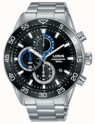 Lorus | Mens Chronograph | Black Dial | Stainless Steel Bracelet | RM335FX9