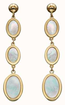 Elements Gold 9k Yellow Gold Oval Mother Of Pearl Drop Earrings GE2266W