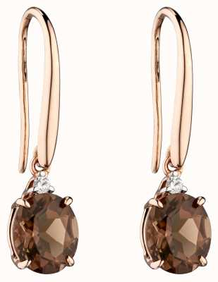 Elements Gold 9k Rose Gold Smokey Quartz Diamond Set Drop Earrings GE2275Y