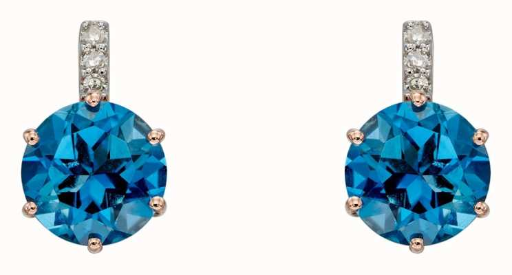 Elements Gold 9k Rose Gold London Blue Topaz Diamond Earrings GE2282L