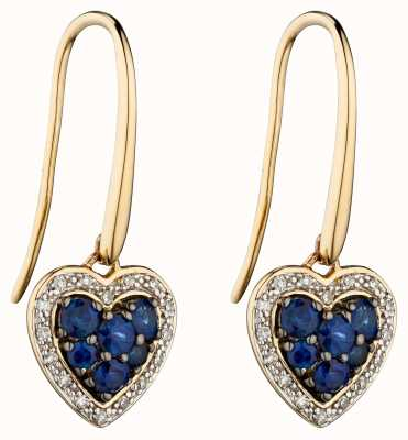 Elements Gold 9k Yellow Gold Sapphire And Diamond Heart Drop Earrings GE2285L