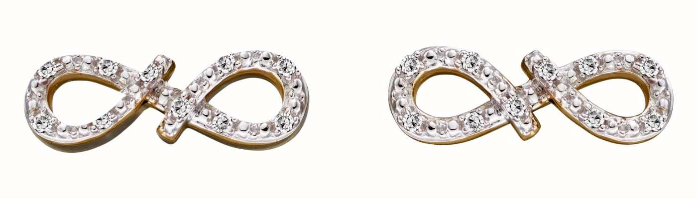 Elements Gold 9k Yellow Gold Diamond Infinity Stud Earrings GE2286