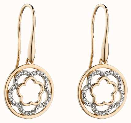 Elements Gold 9k Yellow Gold Diamond Flower Drop Earrings GE2301