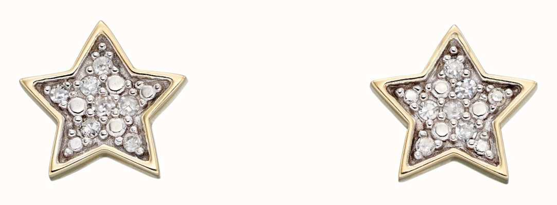 Elements Gold 9k Yellow Gold Diamond Star Stud Earrings GE2310
