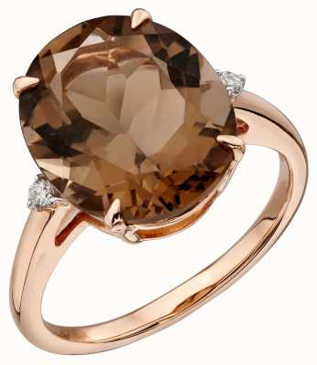 Elements Gold 9k Rose Gold Smokey Quartz Diamond Set Ring GR559Y