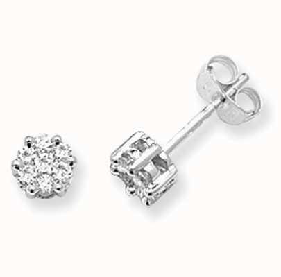 Treasure House 9k White Gold Illusion Set Diamond Stud Earrings ED110W