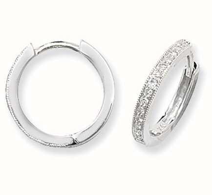 Treasure House 9k White Gold Diamond Set Hoop Earrings ED115W