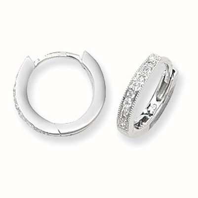 Treasure House 9k White Gold Diamond Hoop Earrings ED116W