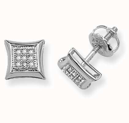 Treasure House 9k White Gold Square Diamond Set Stud Earrings ED126W