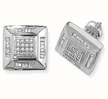 Treasure House 9k White Gold Square Diamond Set Stud Earrings ED133W