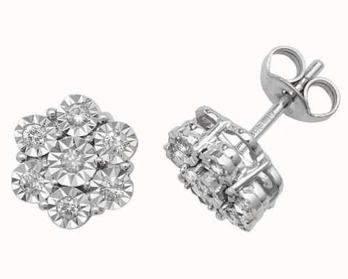 James Moore TH 9k White Gold Illusion Set Diamond Flower Stud Earrings ED161W