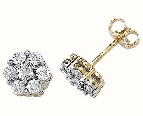 Treasure House 9k Yellow Gold Illusion Set Diamond Flower Stud Earrings ED162