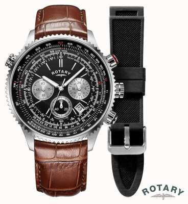 Rotary Mens Pilots | Chronograph | Black Dial | Brown Leather Strap GS00100/04/KIT