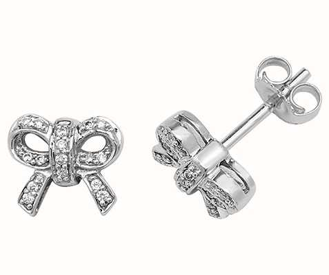 Treasure House 9k White Gold Diamond Bow Stud Earrings ED192W