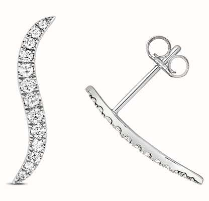 Treasure House 9k White Gold Diamond Climber Earrings ED342W