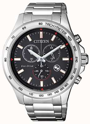 Citizen | Mens Eco-Drive Chronograph | Black Dial | Stainless Steel AT2420-83E