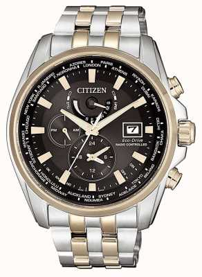 Citizen | Mens Eco-Drive Radio Controlled | Two Tone Gold Plated AT9038-53E