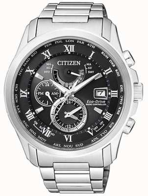 Citizen |Mens Eco-Drive World Time A.T | Stainless Steel | BlackDial AT9081-89E