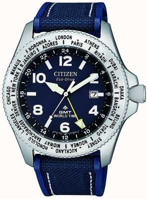 Citizen | Mens Eco-Drive Promaster GMT | Blue Dial | Blue Strap | BJ7100-15L
