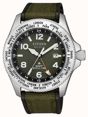 Citizen Mens Eco-Drive Promaster GMT Green Canvas Strap Green Dial Watch BJ7100-23X
