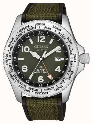 Citizen Men's Eco-Drive Promaster GMT Green Canvas Strap Green Dial Watch BJ7100-23X