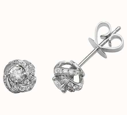 Treasure House 18k White Gold Diamond Knot Stud Earrings EDQ311W