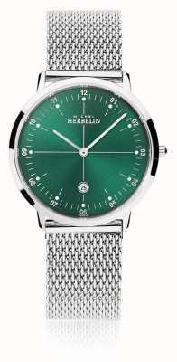 Michel Herbelin | Unisex City | Silver Mesh Bracelet | Green Dial | 19515/16B