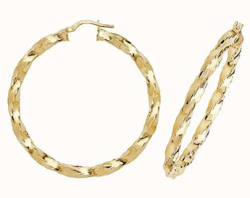 Treasure House 9k Yellow Gold Hoop Earrings 35 mm ER136