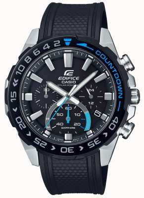 Casio | Edifice Solar | Black Rubber Strap |Black Chronograph Dial EFS-S550PB-1AVUEF