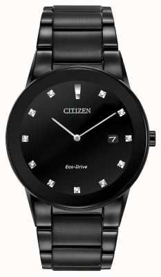 Citizen | Mens Axiom Eco-Drive | Black Diamond Dial | Black Bracelet AU1065-58G