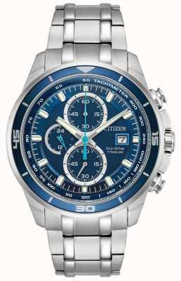 Citizen   Mens Eco-Drive Titanium WR100   Blue Chronograph Dial   CA0349-51L