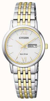 Citizen | Womens Eco-Drive | Two-Tone Bracelet | Silver Dial | EW3254-87A