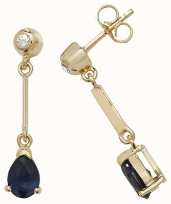Treasure House 9k Yellow Gold Sapphire Diamond Pear Drop Earrings ED246S