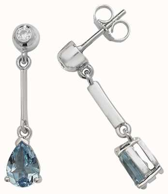 Treasure House 9k White Gold Aquamarine Diamond Pear Drop Earrings ED246WAQ