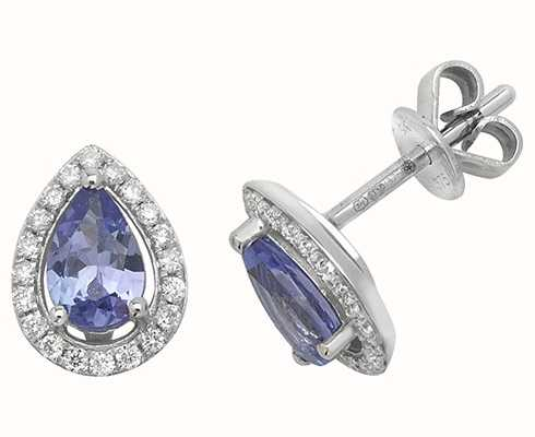 Treasure House 9k White Gold Teardrop Diamond Tanzanite Halo Stud Earrings ED248WT