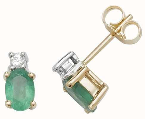 Treasure House 9k Yellow Gold Oval Emerald Diamond Stud Earrings ED249E