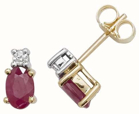 Treasure House 9k Yellow Gold Oval Ruby Diamond Stud Earrings ED249R