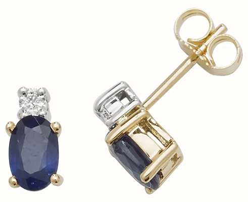 Treasure House 9k Yellow Gold Oval Sapphire Diamond Stud Earrings ED249S