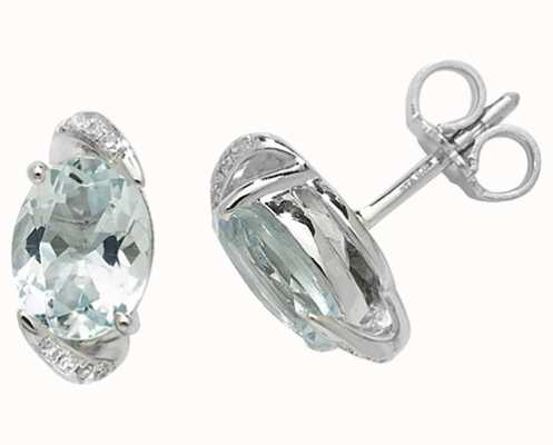 Treasure House 9k White Gold Oval Aquamarine Diamond Stud Earrings ED250WAQ