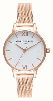 Olivia Burton   Womens   Rose Gold Mesh Bracelet   White Dial   OB16MDW01