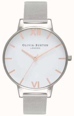 Olivia Burton   Womens   White Dial   Silver Mesh Bracelet   OB16BD97