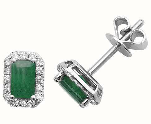 Treasure House 9k White Gold Octagon Emerald Diamond Stud Earrings ED251WE