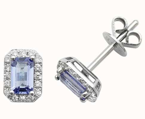 Treasure House 9k White Gold Octagon Tanzanite Diamond Stud Earrings ED251WT